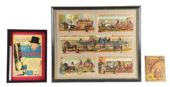 LOT OF 2: FRAMED PUZZLE AND ADVERTISEMENTS.