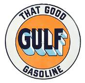 RARE THAT GOOD GULF GASOLINE PORCELAIN CONVEX