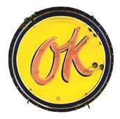 OK USED CARS PORCELAIN NEON DEALERSHIP SIGN.