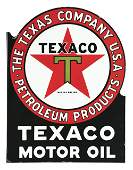 TEXACO MOTOR OIL PORCELAIN SERVICE STATION FLANGE SIGN