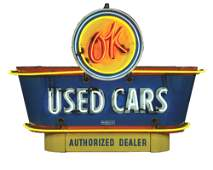 OUTSTANDING OK USED CARS PORCELAIN NEON DEALERSHIP SIGN