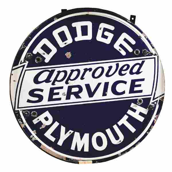 DODGE PLYMOUTH APPROVED SERVICE PORCELAIN SIGN W/ ADDED
