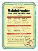 MOBIL MOBILUBRICATION WITH CAR INSPECTION EMBOSSED TIN