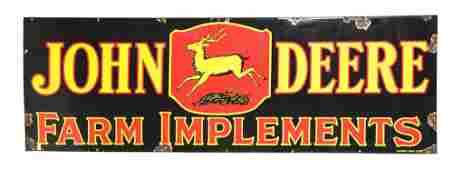 JOHN DEERE FARM IMPLEMENTS PORCELAIN SIGN W/ DEER