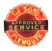 DESOTO PLYMOUTH APPROVED SERVICE PORCELAIN SIGN W/