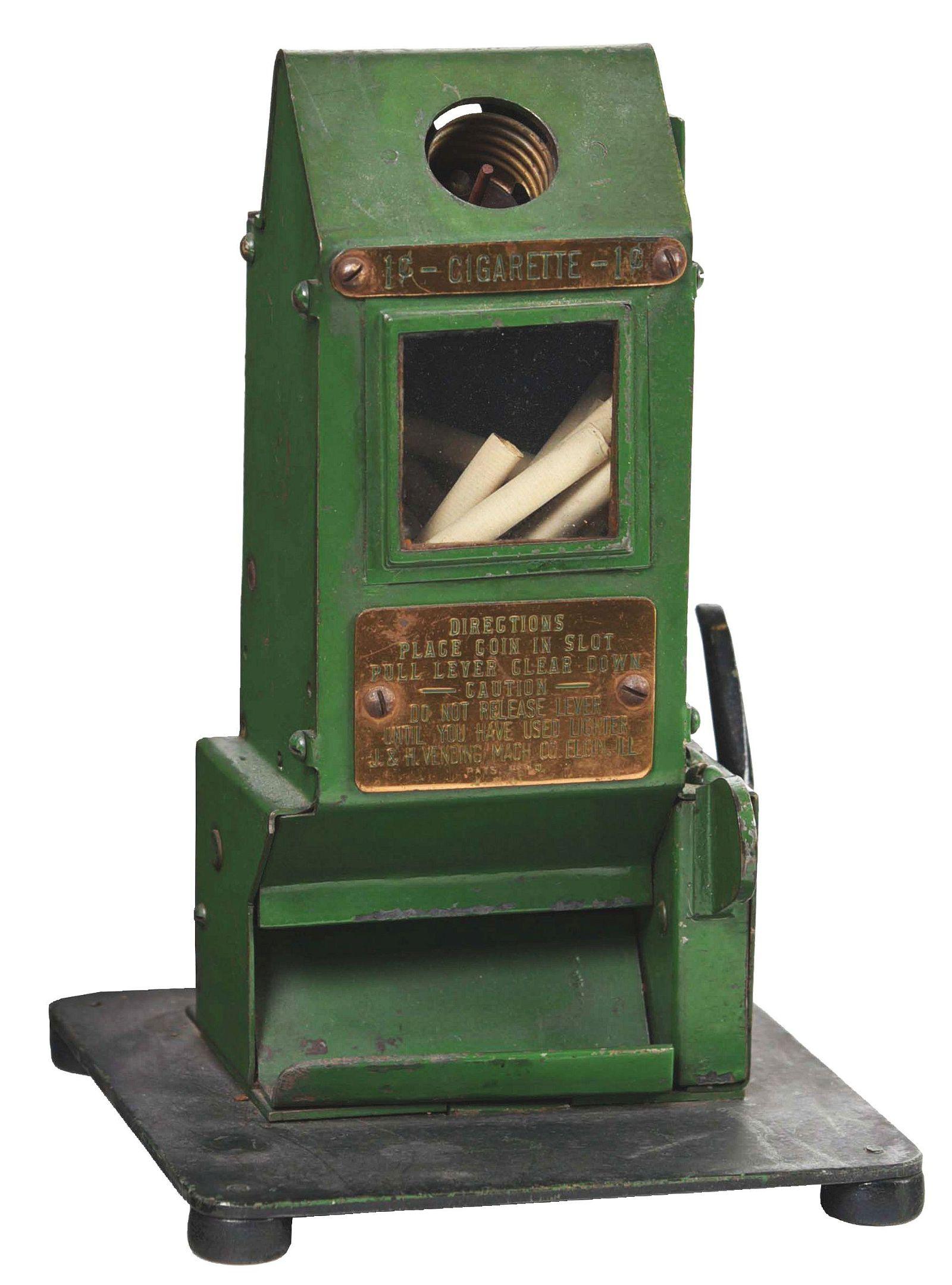 1¢ J & H CIGARETTE VENDING MACHINE WITH LIGHTER.