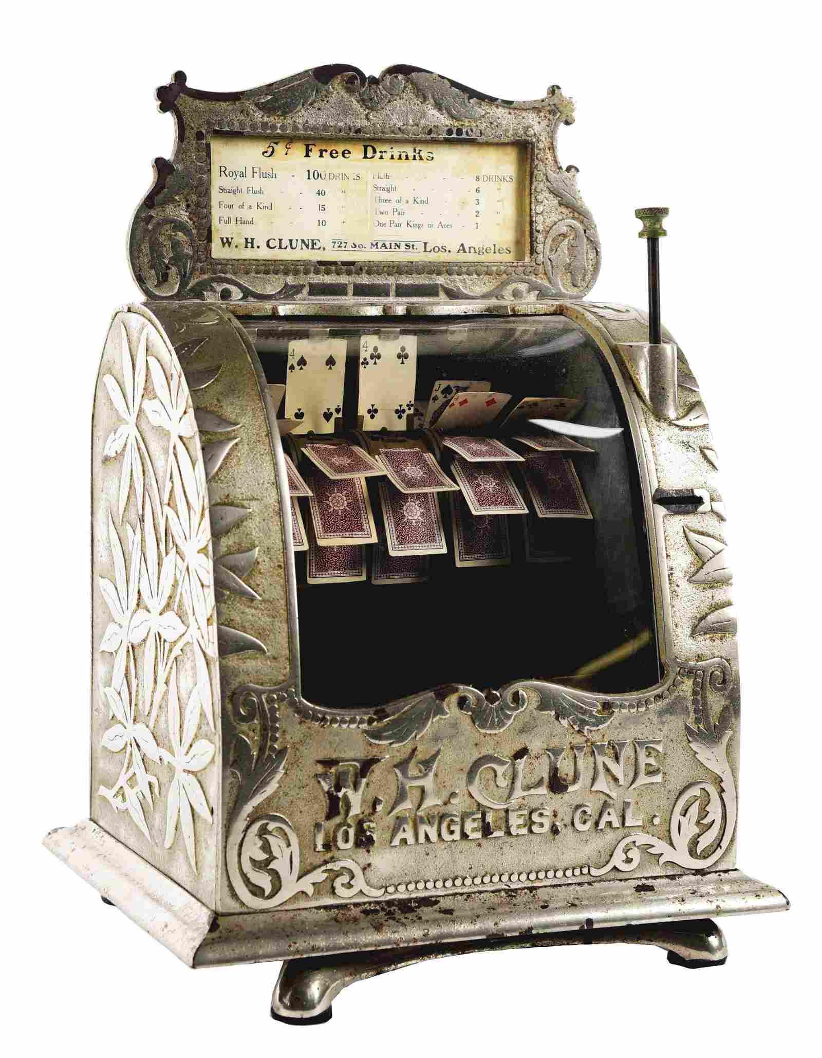 5¢ W. H. CLUNE CARD MACHINE TRADE STIMULATOR.