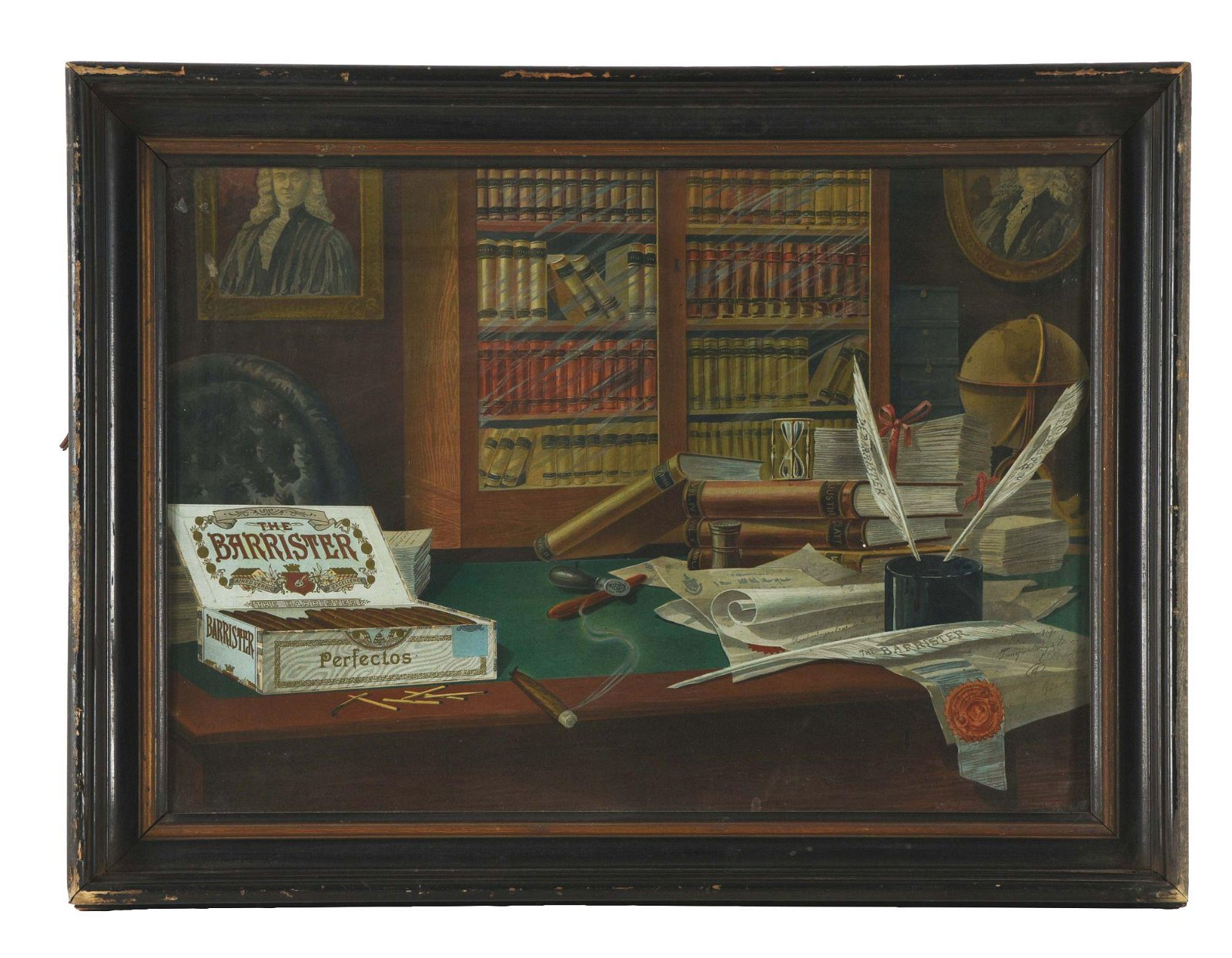 FRAMED TIN LITHOGRAPHED BARRISTER CIGARS SIGN.