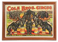 FRAMED LARGE FORMAT COLE BROS CIRCUS FRAMED