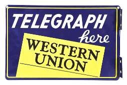 DOUBLE-SIDED PORCELAIN WESTERN UNION FLANGE SIGN.