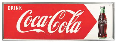 DRINK COCA-COLA SINGLE-SIDED TIN SIGN.