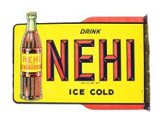 DIE-CUT NEHI SOFT DRINK DOUBLE-SIDED TIN FLANGE SIGN.