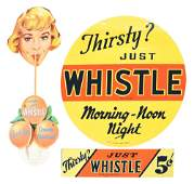 LOT OF 3: WHISTLE SOFT DRINK SIGNS.