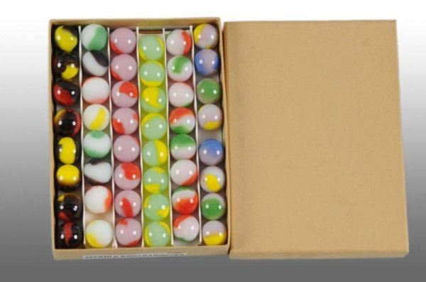 """911: """"Marble King"""" Salesman's Box of Marbles."""