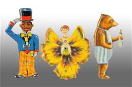 1322: Lot of 3: Tin Litho German Pull String Toys.