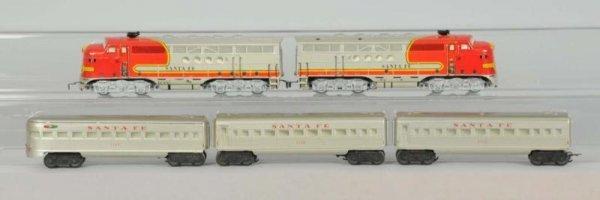 1605: Marx O-Gauge Santa Fe Diesel Passenger Set.