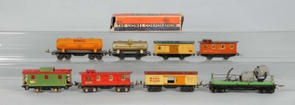 1609: Lot of 10: Metal Lionel O-Gauge Freight Cars.