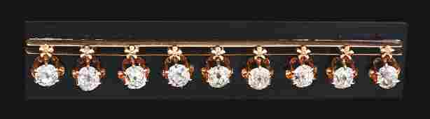 ANTIQUE 14K ROSE GOLD ONYX & DIAMOND MOURNING BROOCH,
