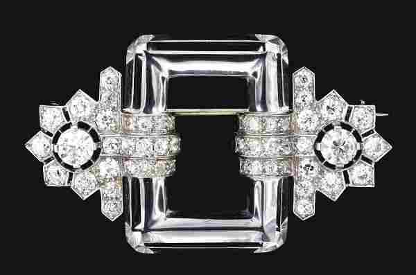 LADIES ANTIQUE 14K W/G DIAMOND AND CUT CRYSTAL BROOCH.