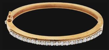 14K GOLD TWO TONE DIAMOND BANGLE BRACELET