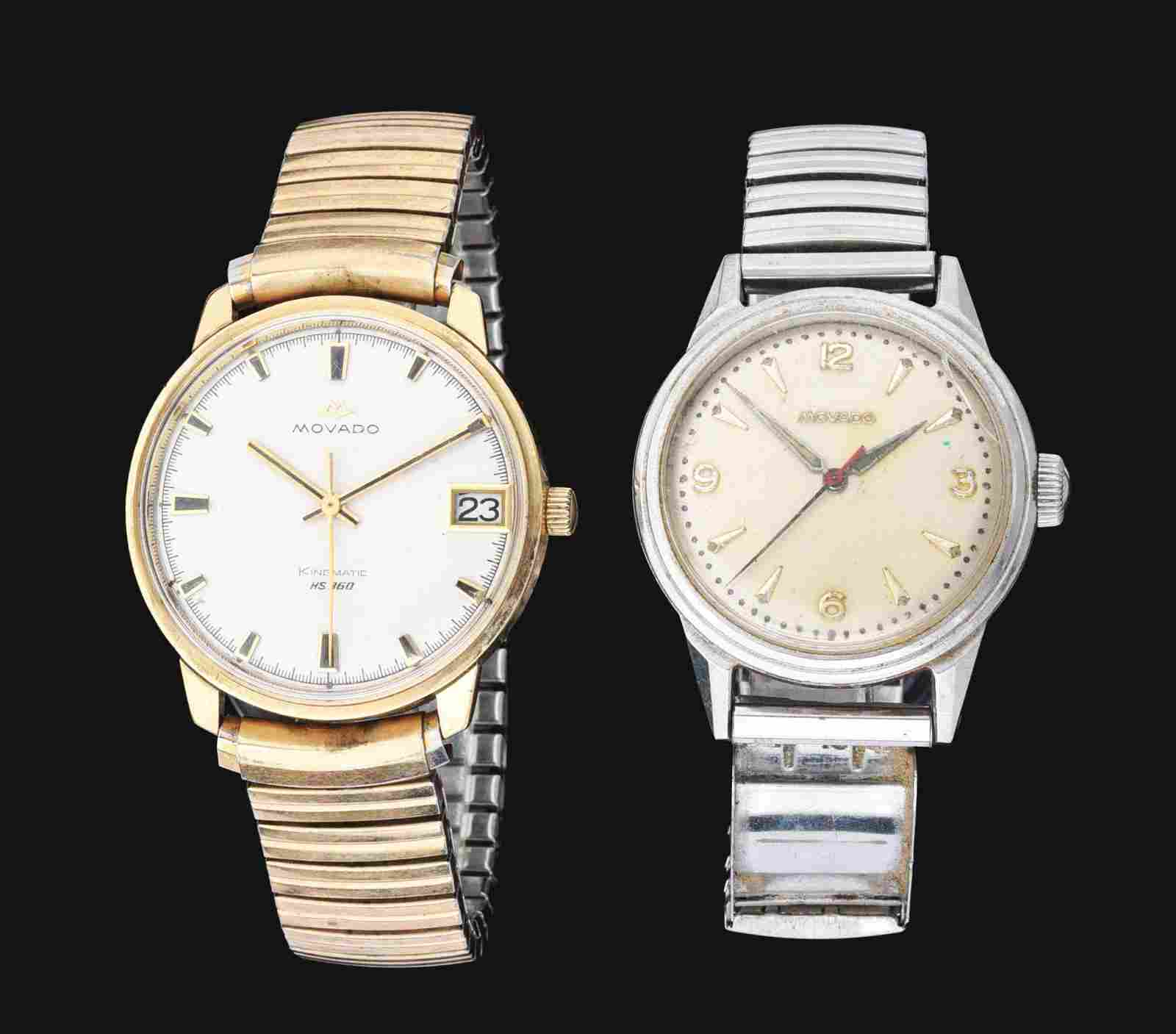 LOT OF 2 MEN'S MOVADO ROUND AUTOMATIC WRISTWATCHES.