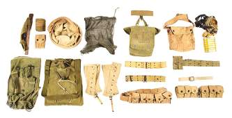 LARGE LOT OF AMERICAN AMMO BELTS, BAGS AND GEAR.