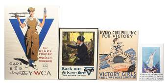LOT OF 4: US WWI LIBERTY BOND POSTERS DEPICTING WOMEN'S