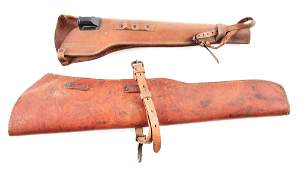 LOT OF 2 WWII US M1 CARBINE AND GARAND LEATHER RIFLE