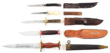 LOT OF 5: FIXED BLADE KNIVES.
