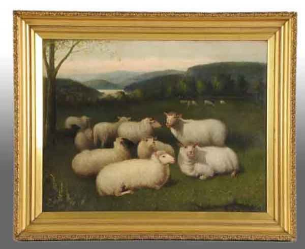 2: Sheep in Pasture Oil Painting by Jones.