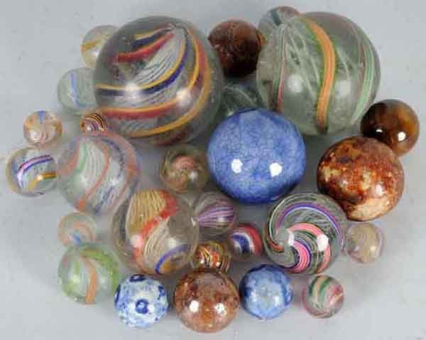 907: Lot of 28: German Handmade Marbles.