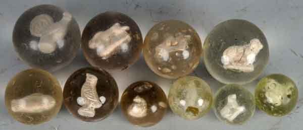 908: Lot of 10: Sulphide Marbles.