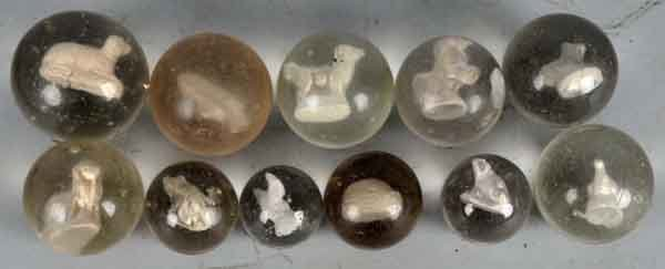 909: Lot of 11: Sulphide Marbles.
