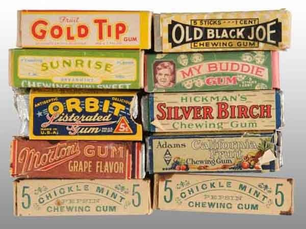 1901: Lot of 10: Assorted Packs of Gum.