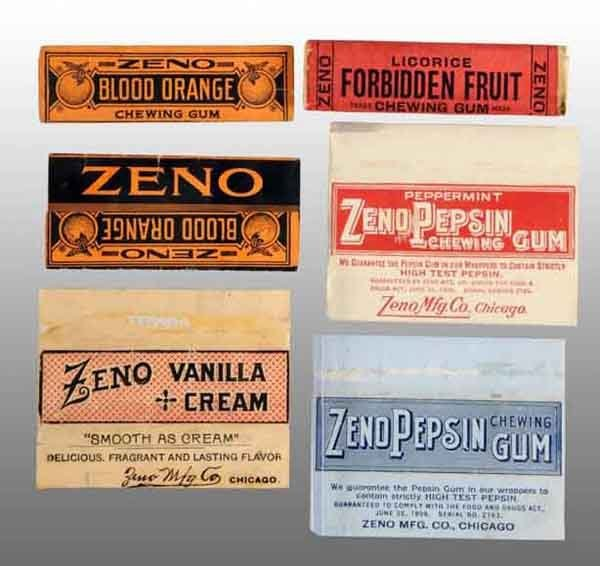 1903: Lot of 6: Zeno Gum Wrappers.