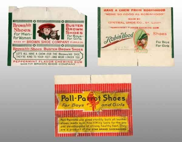 1904: Lot of 3: Paper Gum Wrappers.