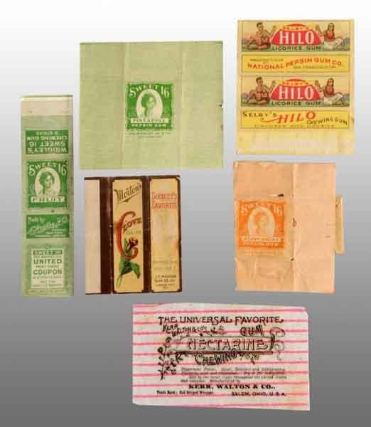 1907: Lot of 6: Assorted Gum Wrappers.