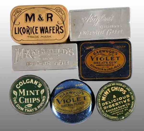 1911: Lot of 7: Assorted Gum Tins.