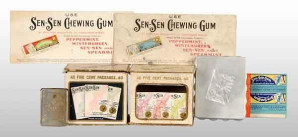 1921: Lot of 7: Assorted Sen-Sen Gum Items.
