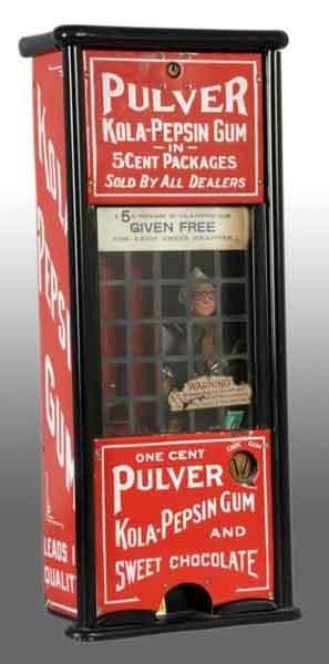 2144: Pulver Tall Case Kola-Pepsin Gum Machine.