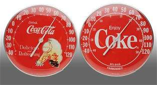 2635 Lot of 2 Plastic CocaCola Dial Thermometers
