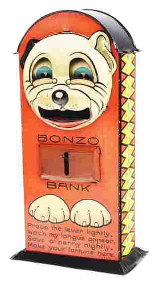 BONZO - TIN MECHANICAL BANK WITH VERSE.