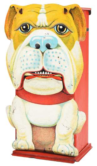 BULLDOG - ENGLISH TIN MECHANICAL BANK.