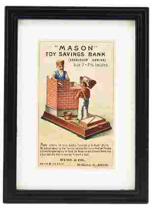 MASON BANK FOUR COLOR TRADE CARD FRAMED.