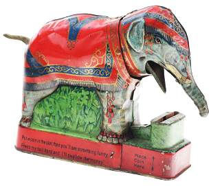 ROYAL TRICK ELEPHANT TIN MECHANICAL BANK.