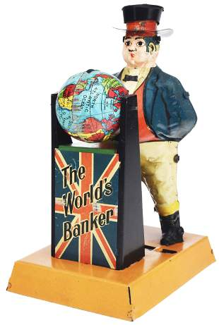 THE WORLD'S BANKER TIN MECHANICAL BANK.