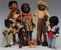 301: Lot of 6: Small Black Dolls.