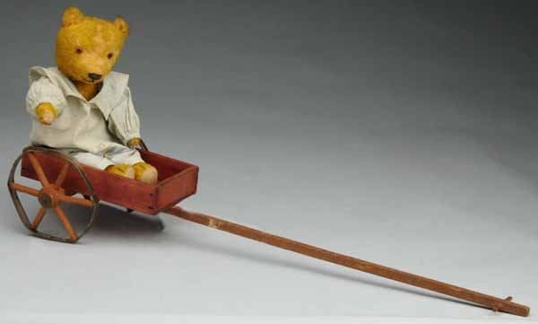 350: Wood Pull Cart with Bear.