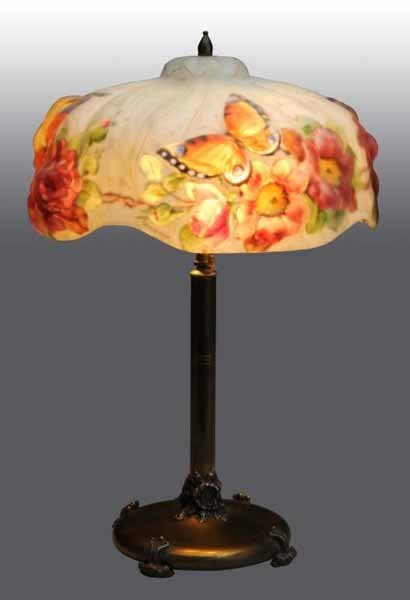 396: Puffy Pairpoint Lamp with Butterflies.