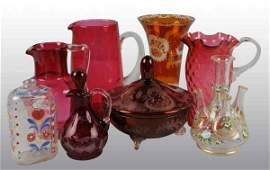 422 Lot of 8 Cranberry Glass  HandPainted Glass